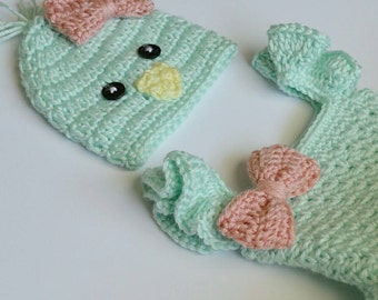 Easter Chick Baby Tutu Dress & Matching Hat Toddler Dress Mint Peep Chick Photo Prop Custom Made Girl Costume