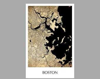 Boston Map - City Map- Grid Map - Poster- Print