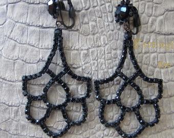 Black Austrian Crystal Chandelier Long Drop Statement Earrings, Clip Back, Clip On Earrings. #GALA #NIGHTTIME Party BlackTie Fashion Jewelry