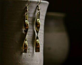 Twisted Brass Earrings. Free US Shipping. Handmade.