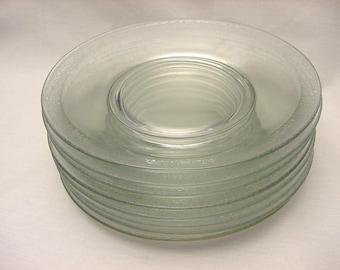 Set (8) Crystal Glass Plates Vintage Glastonbury Rambler Rose Etch Luncheon Salad