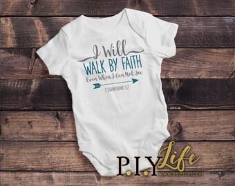 Kids  I Will Walk by Faith Kids Bodysuit DTG Printing on Demand