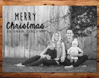 Traditional Merry Christmas Holiday Photo Card - Custom Family Christmas Photo Card - Classic Merry Christmas - Printable Christmas Card