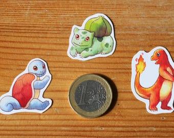 Kanto Starters Pokemon Inspired Stickers Bulbasaur Charmander Squirtle