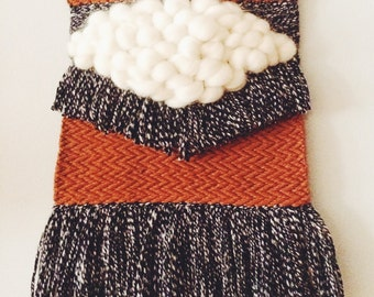 rusty zig zags weaving | woven wall hanging