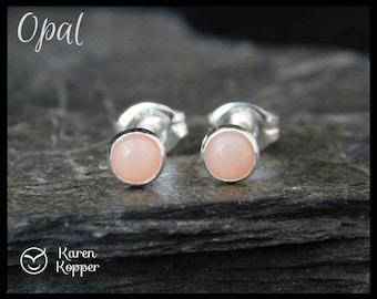 October birthstone earrings - Natural pink opal gemstone earrings, 4mm, in a sterling silver bezel setting. Sleepers, stud earrings. 112