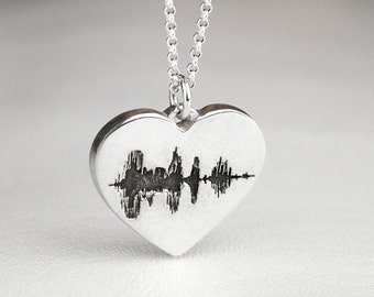 Heart Sound Wave Necklace Soundwave Sterling Silver Personalized
