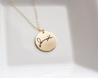Signature Necklace - Custom Handwriting Necklace, Engraved Signature Handwriting, Gift for Mom, Signature Necklace, Handwritten Engraving