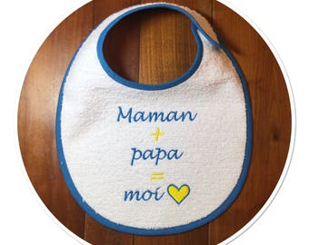 White cotton bib Terry cloth and honeycomb design with embroidery