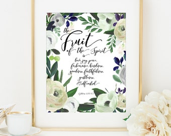 Fruit of the Spirit Printable, Bible Verse Scripture Printable Art Print, 8x10, Calligraphy Print, Gift for, Printable Verse, Galatians 5