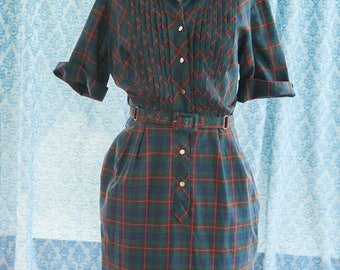 Vintage Dress - Preppy Plaid Belted
