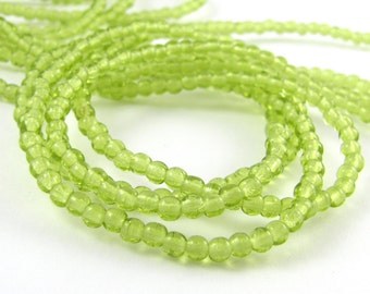Olivine Green 3mm Smooth Round Czech Glass  Beads 100pc #664