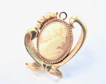 Mid Century Swiss Made Harvester Watch in 1930s Carved Shell Cameo Pendant