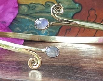 Moonstone Swirl Armcuff Arm Band Upper Arm Band.Brass Tribal Gemstone Crystal Bohemian Festival Bracelet Jewelry