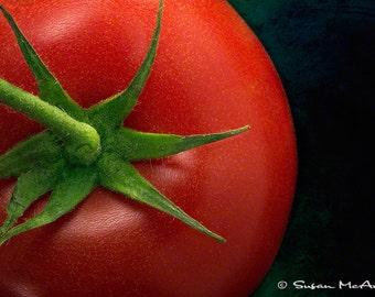 Tomato Art Print Photograph, Food Photograph, Food Art, Kitchen Art, Modern Art Photo Print, Home Decor, Office Wall Decor, Black, Red