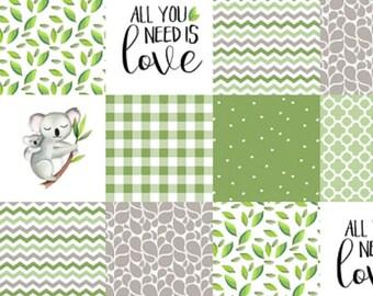 Gender Neutral Baby Quilt, Green Grey Gray, Koala Animal Baby Quilt, Modern Patchwork Minky Crib Quilt, Neutral Nursery Baby Blanke