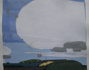 Big White, Original Autumn Landscape Collage Painting on Paper, Stooshinoff
