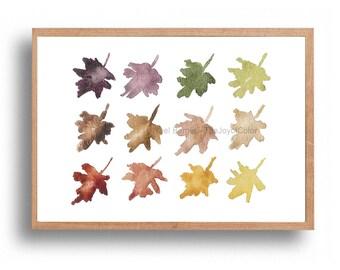 Autumns hues Art print , fall leaves watercolor, colors of fall art, Indian summe art, Rust Brown, mustard, plum, green, modern art