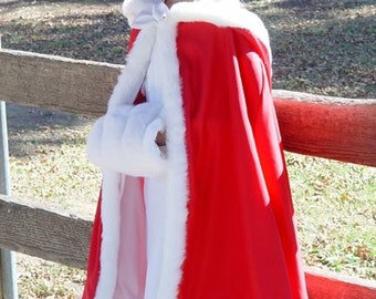 Childs red hooded cloak cape with white faux fur trim