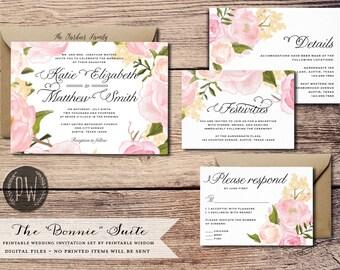 Printable Wedding Invitation Suite Floral wedding invite vintage style roses, rustic wedding RSVP card DIY invitation set Printable Wisdom