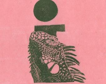 Iguana i Monogram Linocut - Lino Block Print Alphabet Typographic Print - I is for Iguana