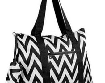 Personalized Tote Bag-BLACK ChevronTote Bag  Beach Tote  Diaper Bag