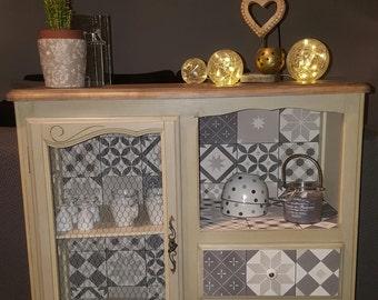 SOLD - Cabinet storage, buffet, sideboard, Dresser repaints antique beige