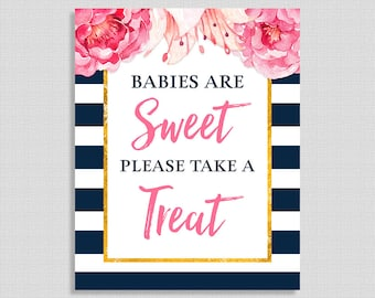 Babies Are Sweet Please Take a Treat Shower Sign, Navy & White Stripe Peony, Favor Sign,  INSTANT PRINTABLE