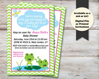 Lilly pad invite etsy frogs baby shower invitation lily pad baby shower invitations hopping with joy frog filmwisefo