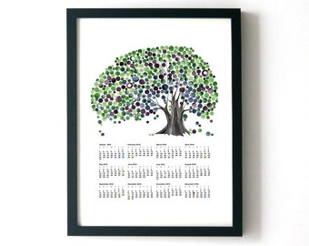 Printable CALENDAR 2017 Christmas Gift - TOP CALENDAR Birds and Trees of Life - wall art calendar gift print poster for New Year Gift