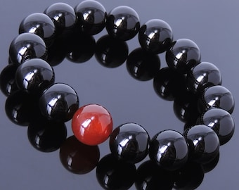 Men's Gemstone Elastic Bracelet 14mm Black Onyx 14mm Red Agate DiyNotion BR078