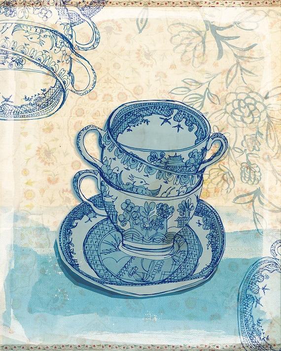 Blue Willow Pattern Tea Cups Wall Art print