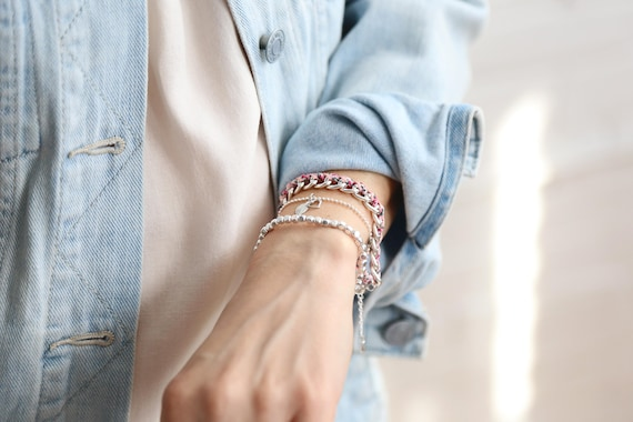 "Si Simple ""harmony flower and jeans"" bracelets handmade in Montreal"