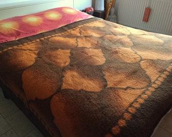 Vintage Orange with brown retro blanket Waldra psychedelic plaid orange brown blanket Sixties Seventies space age