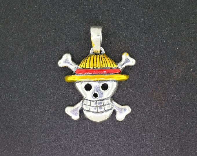 Straw Hat Jolly Roger pendant in Sterling Silver