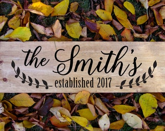 Custom Family Name Sign, Established sign, Custom Family sign, Wedding date sign, Last name sign, rustic family sign, personalized sign