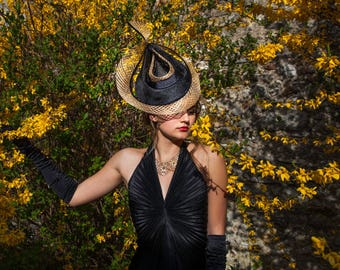 Black Parasisal Straw Hat with Gold Mesh Sinamay Straw Detail / Fascinator includes a luxury white wooden hat box
