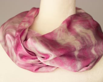 Rose Ripple Silk Charmeuse Scarf, tie-dyed, beautiful gift for her