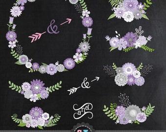 "Chalkboard Wedding Clipart ""CHALKBOARD WEDDING FLORAL""clip art,VintageFlowers,Floral Wreath,Wedding Floral,invitation Instant Download Wf021"