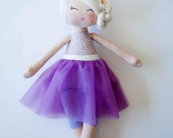Ballerina doll cloth doll handmade doll rag doll blonde hair purple tutu skirt gift