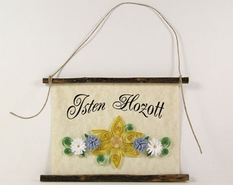 Isten Hozott, Hungarian Welcome, Paper Quilled Welcome Sign, 3D Quilled Banner, Yellow Blue White Decor, Hungary Gift, Rustic Wall Decor