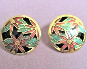 Round Cloisonne Earrings Large Post Earrings Round Circle Floral Earrings for Pierced Ears Artful Summer Earrings Red Green Gold Jewelry