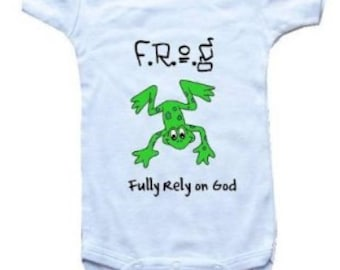 Baby One-Piece Bodysuit-Personalized Gifts-Christian Baby Gifts-FROG Fully Rely On God Green Frog - White, Blue or Pink