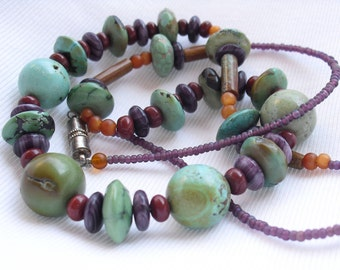 Vintage Turquoise Necklace with Banded Fluorite, Old Mine Turquoise Beads, Magnetic Clasp Necklace