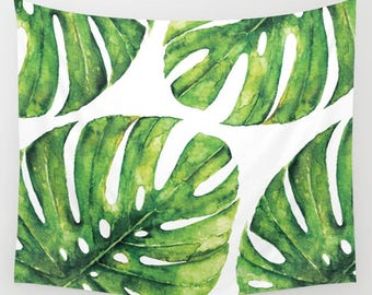 Monstera Leaves Wall Tapestry / Tropical Leaf Tapestry / Printed Wall Tapestry / Tropical Leaf decor / Aldari Home