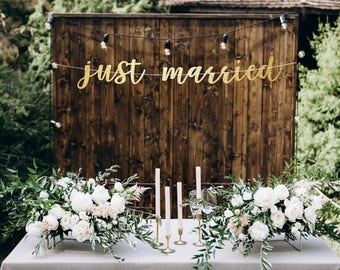 Just married banner, just married car sign for car, just married car sign, bride and groom banner, newlyweds banner, wedding decor banner