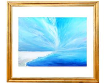 Seascape painting, Seascape Canvas, Maldives painting, Boat wall art, Oil painting print, Landscape painting, Sea print, Florida sea