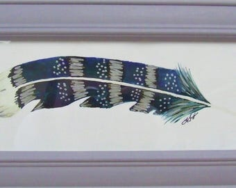 Original Mixed Media Painted Feather (Framed)
