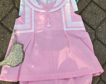 Cute Pink and White  Striped Sailor Dress set