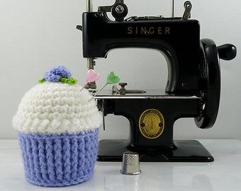 Lilac Cupcake Pincushion, Crocheted Cupcake